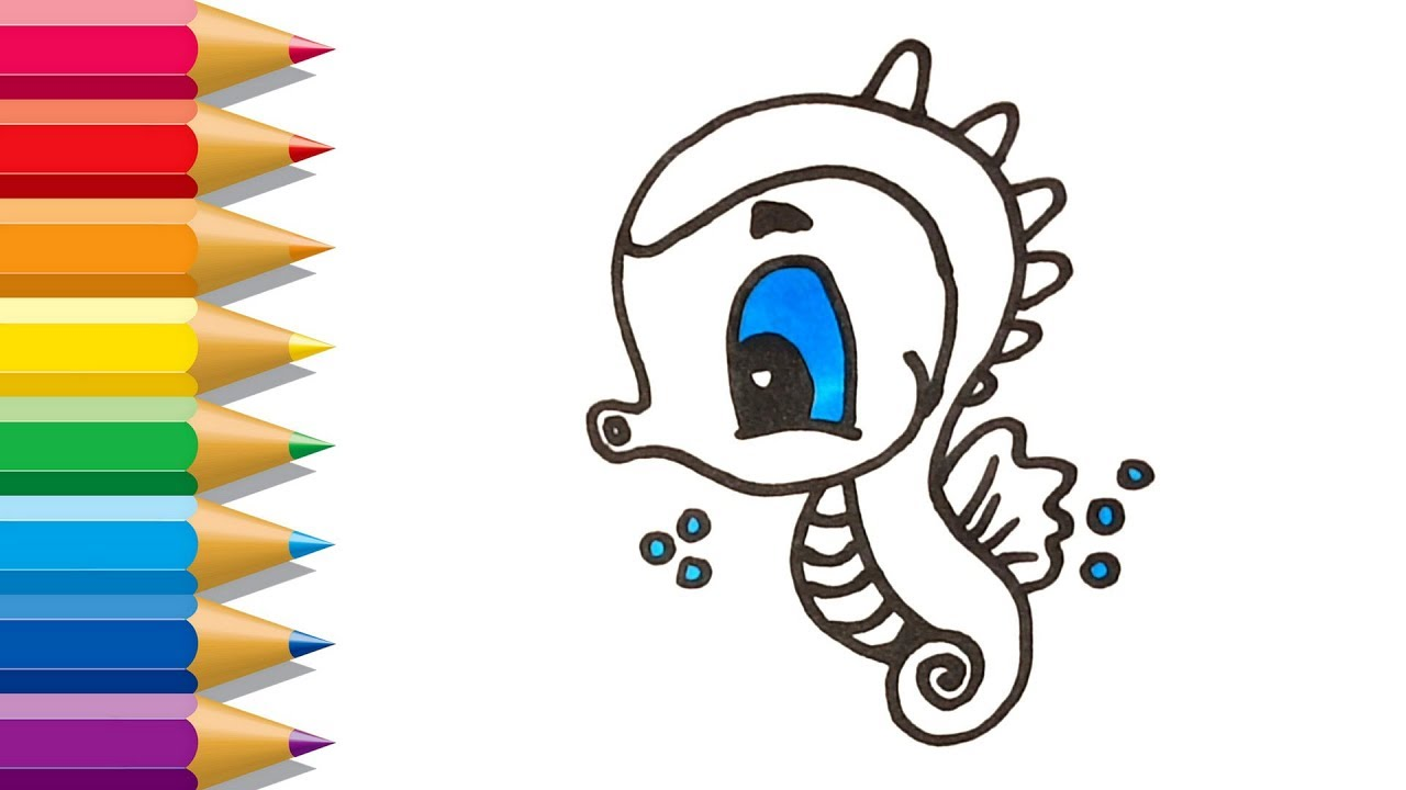 Seahorse Coloring Book | Sea Animals Coloring Page | Color For Kids ...
