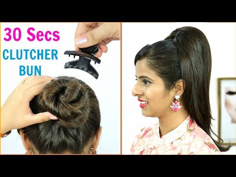 30 Secs में Clutcher से बनाये Juda Hairstyles – Bun/Updo Hairstyles for Long/Medium Hair | Anaysa