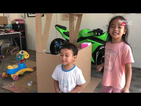 Zara Cute membuat Gerobak dari Kardus untuk Main Jual Jualan | DIY Cardboard |