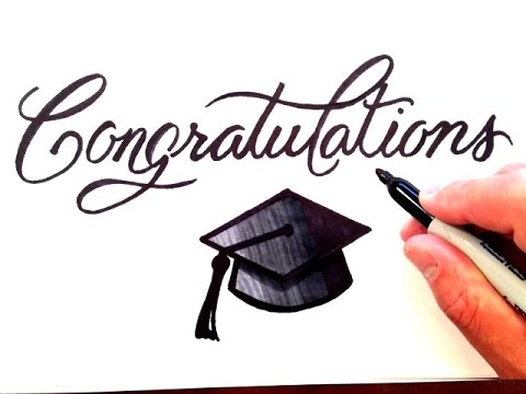How to Draw Congratulations with Graduation Cap - YouTube