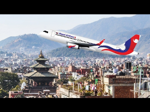 Kathmandu City View And Landing Plane