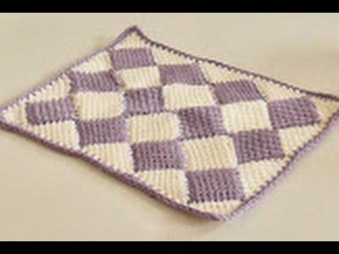 7155e85c8 Háčkovaný tuniský Entrelac, deka ze čtverců 1. díl, Tunisian crochet  blanket - YouTube