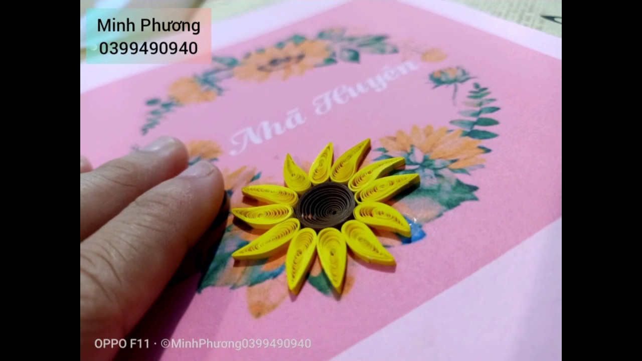 Làm hoa hướng dương siêu dễ bằng giấy sợi Quilling 3mm