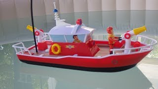 Fireman Sam R/C Titan Boat, Dickie Toys Unboxing and pool test
