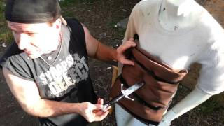 Dagger, Seax and Knife Thrust Test on Heavy Gambeson Saber Grip!