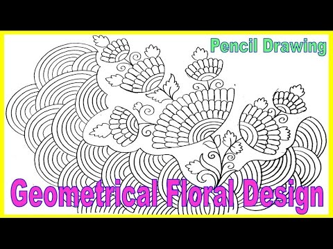 Geometrical Floral Design With Pencil Drawing Tutorial For Kids