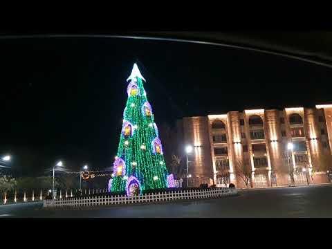 Эчмиадзин 30.12.2019/ Центральная ёлка/ Праздничный город ночью / Умная остановка