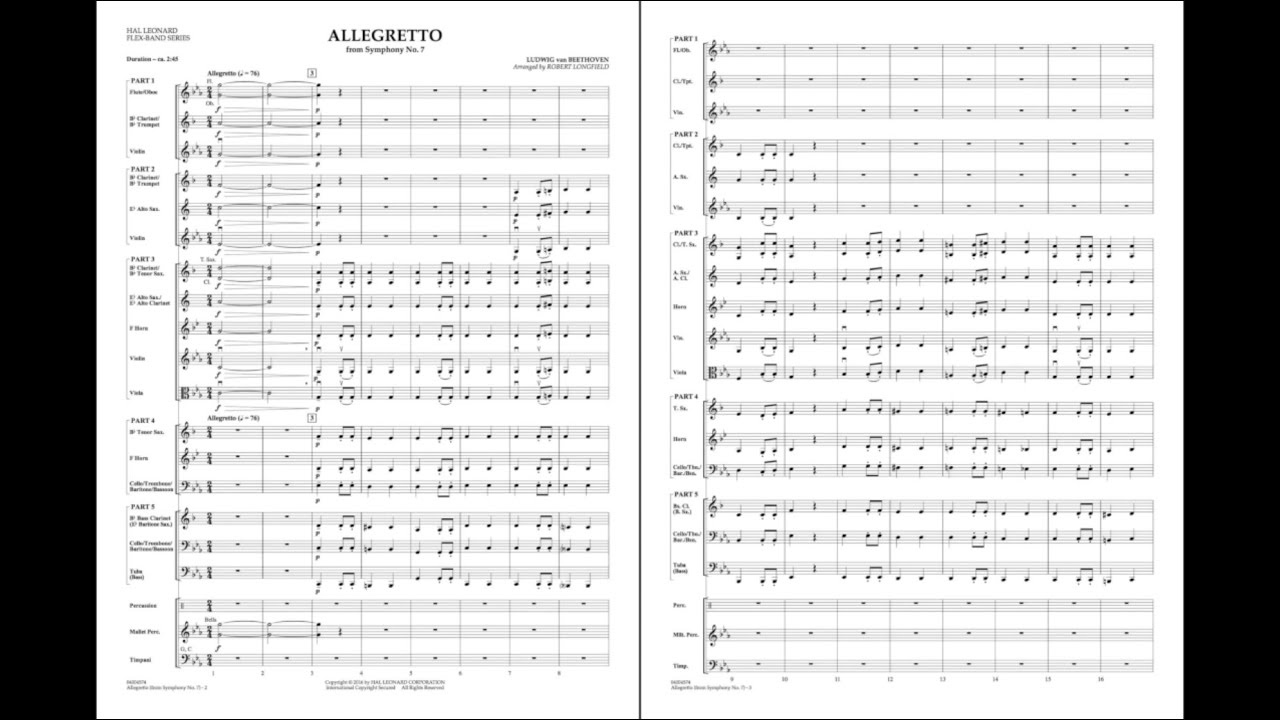 Allegretto from Symphony No  7 by Beethoven/arr  Longfield