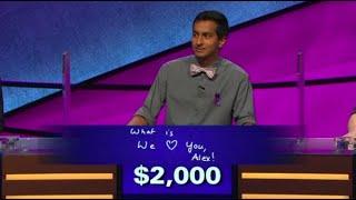 'We love you, Alex:' Alex Trebek gets emotional over 'Jeopardy!' contestant's answer