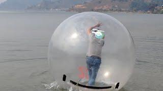 Crazy Guy In The Water Ball Walking At Lake Phewa Pokhara, Nepal