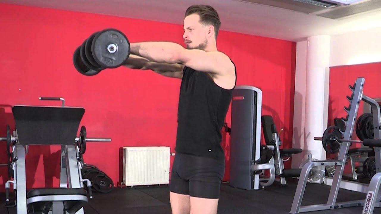 Exercice de musculation épaules - Elévation frontale avec ...