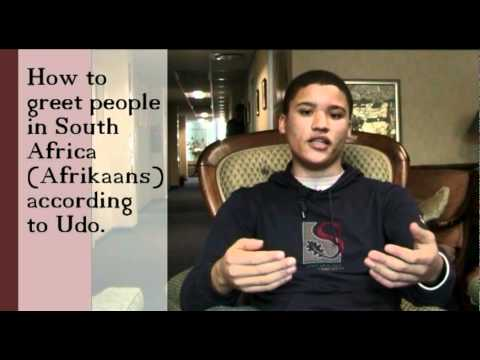 How to greet people in South Africa (Afrikaans) according to Udo (no subs)