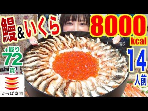 【LUXURY MUKBANG】 [Kappa Sushi] Limited Eel & Salmon Roe Sushi Cake!! With 72 Sushi! 8000kcal [CC]