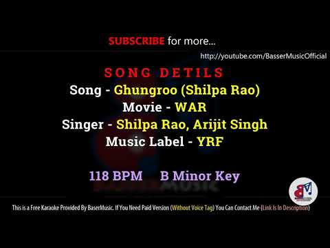 Ghungroo (Shilpa Rao) - KARAOKE With Lyrics | War | Female Version Track