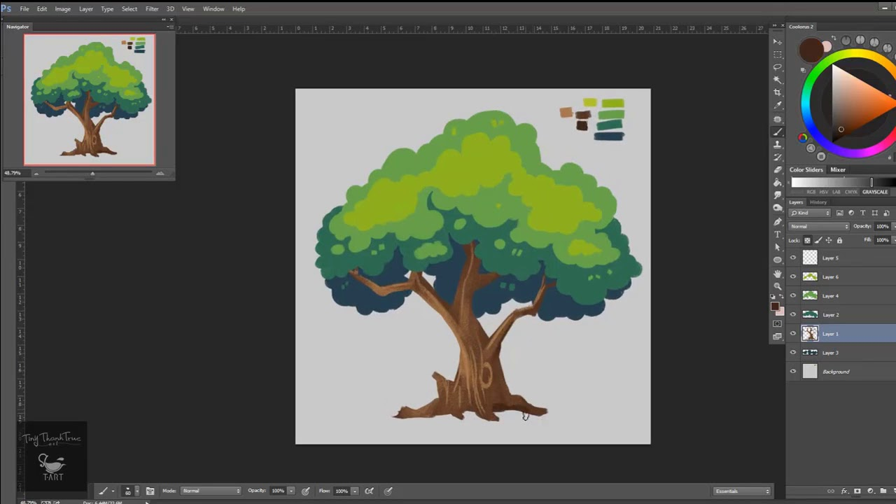Hướng dẫn vẽ bằng Wacom –  Quá trình vẽ một cái cây bằng Photoshop