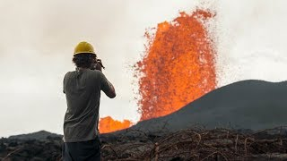 This man makes a living by chasing lava