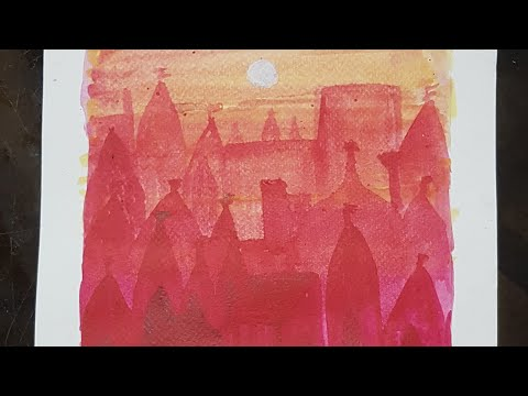 How to Paint abstract Landscape with Watercolour| Watercolor Painting| Sunset| Temple City of India