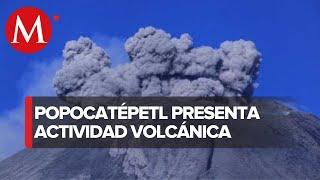 Lanza Popocatépetl Fragmentos Incandescentes Tras Explosión