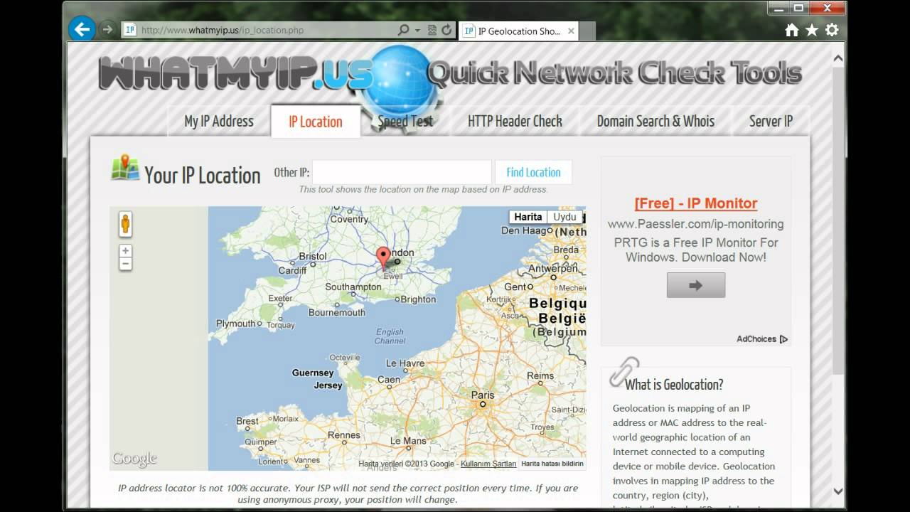 Find your current IP address and additional information including maps and location info.