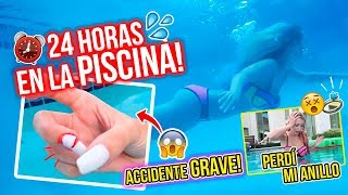 24 HORAS EN LA PISCINA!😱💦  ACCIDENTE DOLOROSO!💉🤦🏼‍♀ PERDÍ MI ANILLO DE DIAMANTE!💍😭 | Katie Angel