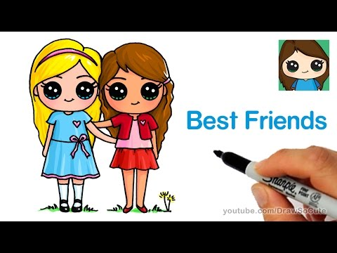 How to Draw Two Cute Girls Easy - Best Friends Forever
