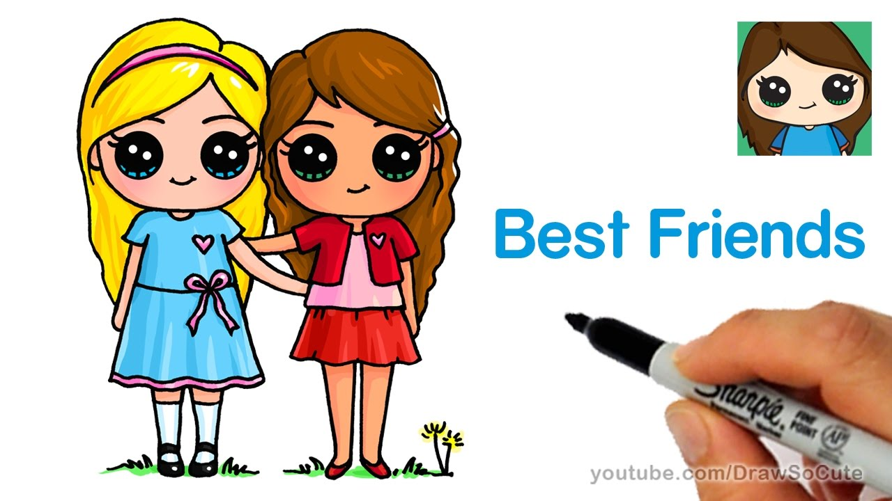 How to draw two cute girls easy best friends forever