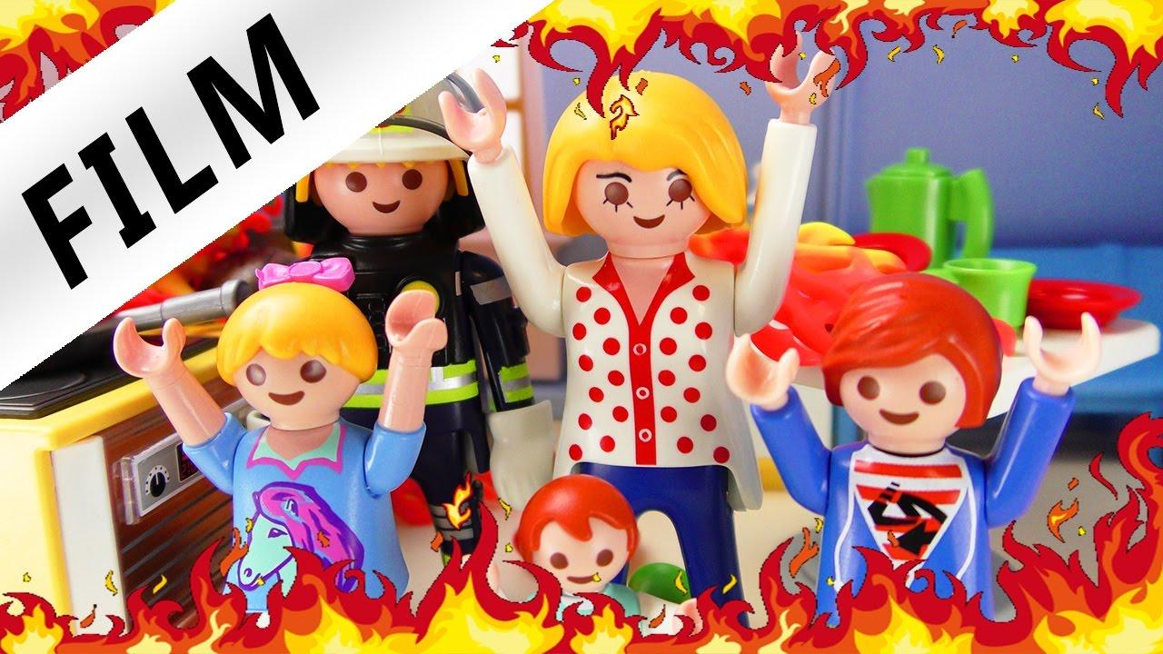 Playmobil Film Deutsch   Die KÜCHE BRENNT! Brand Im Puppenhaus! Kinderserie  Familie Vogel   YouTube