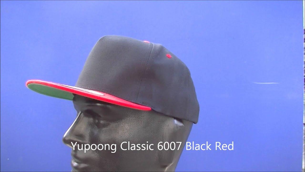 72069ffc95b9b Yupoong 6007 Black Red - YouTube