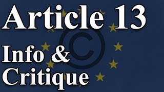 EU Copyright Directive - Article 13, 11 and 12 explained - Uploadfilters - Information and Criticism