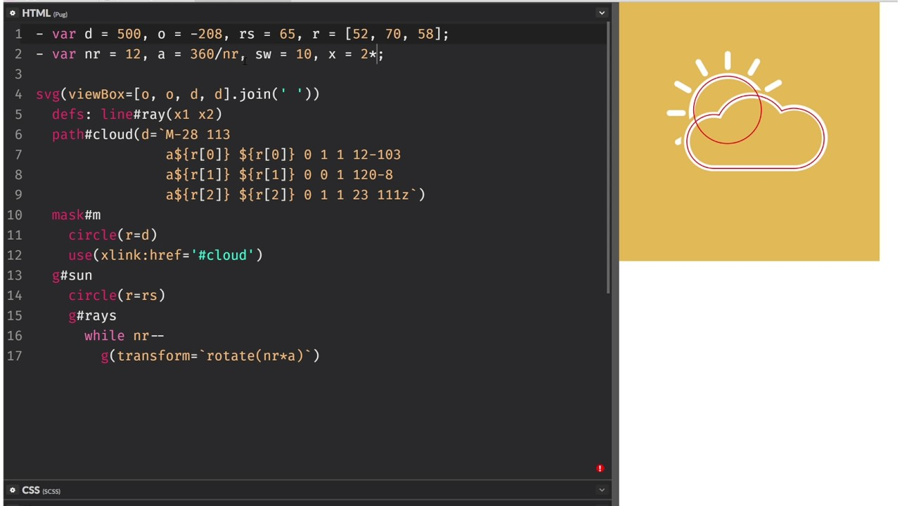 Partly sunny SVG + CSS animation loop