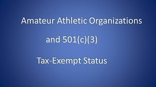 How to Get 501c3 Tax-Exempt Status for Amateur Sports Organization