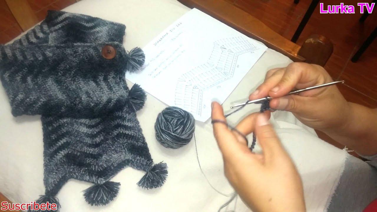 Bufanda tejida a crochet en zig zag con aplicaci n de - Aplicaciones en crochet ...