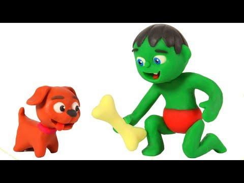 SUPERHERO BABY FEEDS THE DOGGY ❤ SUPERHERO BABIES PLAY DOH CARTOONS FOR KIDS