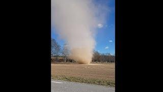 Huge Dust Devil Forming On A Field In Sweden