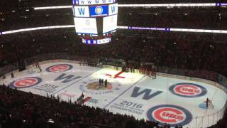 Chicago Cubs World Championship Cup at Chicago Blackhawks game in United Center - 6 November 2016