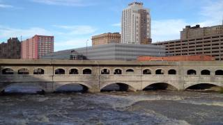Downtown Rochester, NY -- with raging Genesee River