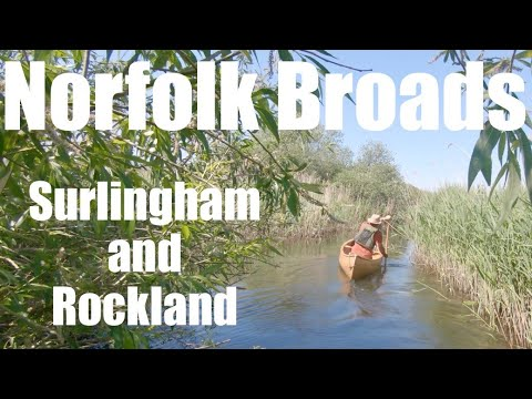 The Norfolk Broads by Canoe. Sunken Wherry Graveyards. Surlingham and Rockland Broad. River Yare.