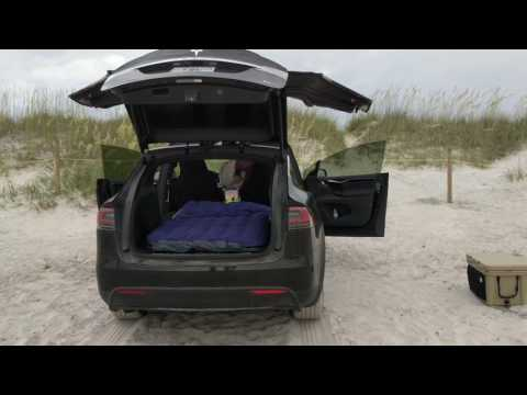 How To Setup An Air Mattress / Bed In A Tesla Model X For Car Camping :)