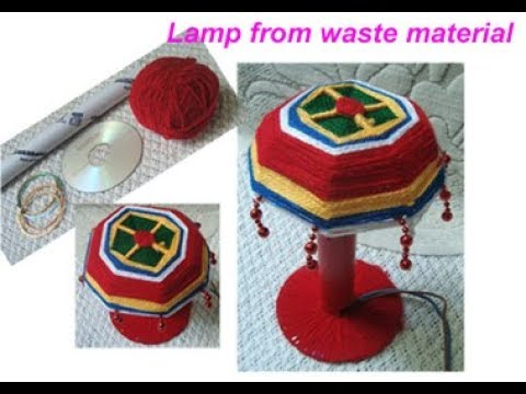 Recycle old bangles /CD /paper roll to make lamp shade,night Lamp/laltern waste material craft