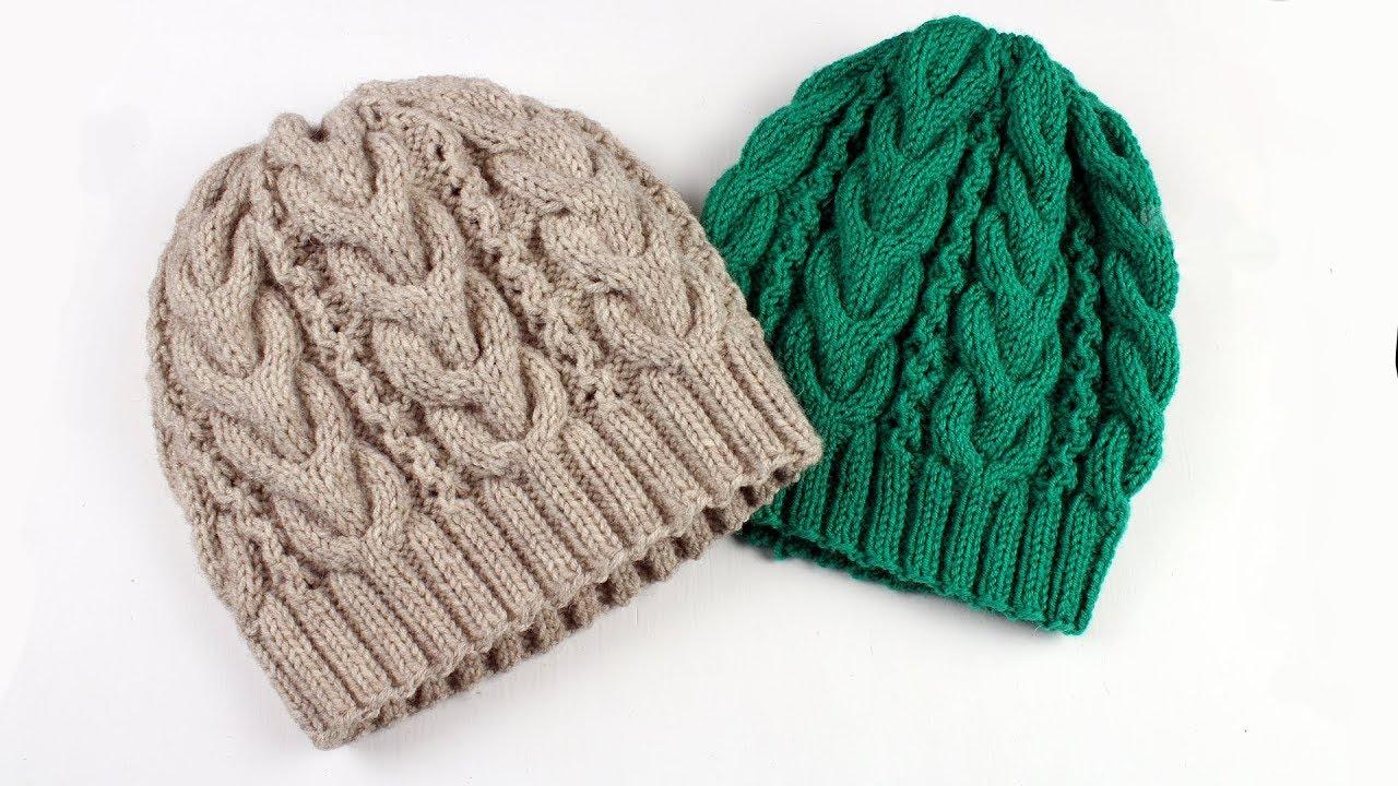 вязание шапок для женщин спицами с описанием и схемами