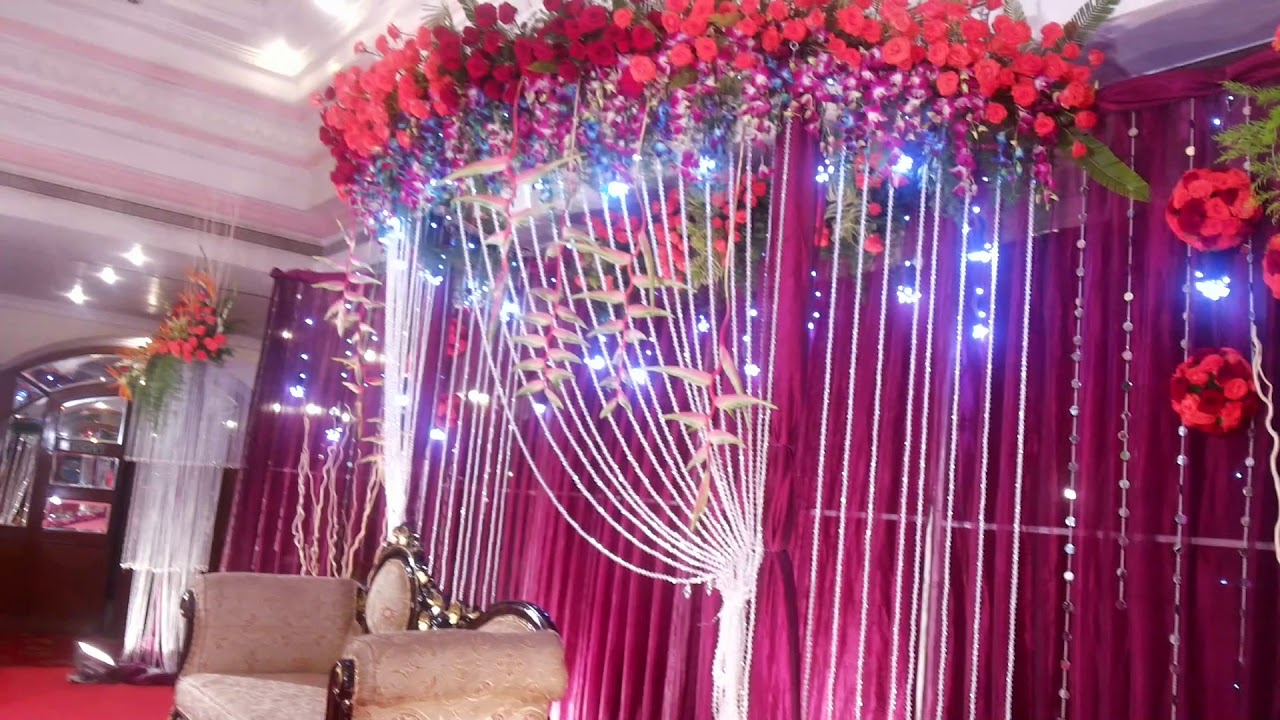 Christian Wedding Reception Stage And Banquet Hall Decoration By