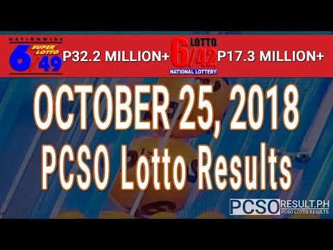 PCSO Lotto Results Today October 25, 2018 (6/49, 6/42, 6D, Swertres, STL & EZ2)