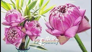 พับดอกบัวแบบง่ายๆ เห็นชัด มือไม่บัง2324 : แบบที่ 1 เหลี่ยมเพชร : How to fold the lotus petals#1