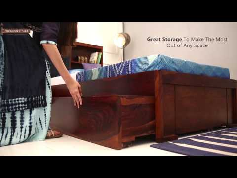 Single Beds - Shop Nova Single Bed With Storage online in Honey Finish from Wooden Street