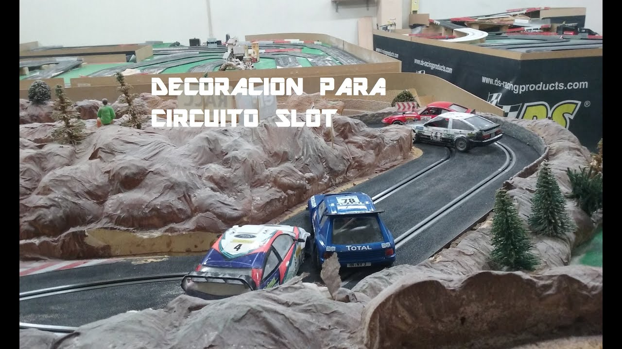 Como hacer una decoraci n para pista slot youtube for Decoracion circuitos slot
