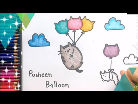 Cute Draw PUSHEEN CAT cartoon 🎈 🌈🎈 cute cartoon Balloon Easy drawing and coloring forkids