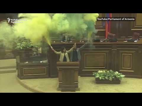 Armenian Lawmakers Set Off Smoke Bombs In Parliament