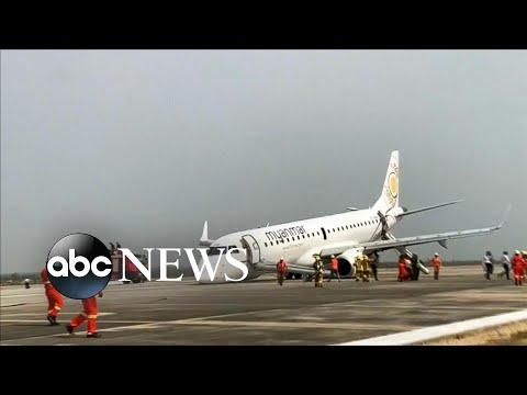 Gaby Calderon - Avión aterriza sin ruedas delanteras gracias al piloto