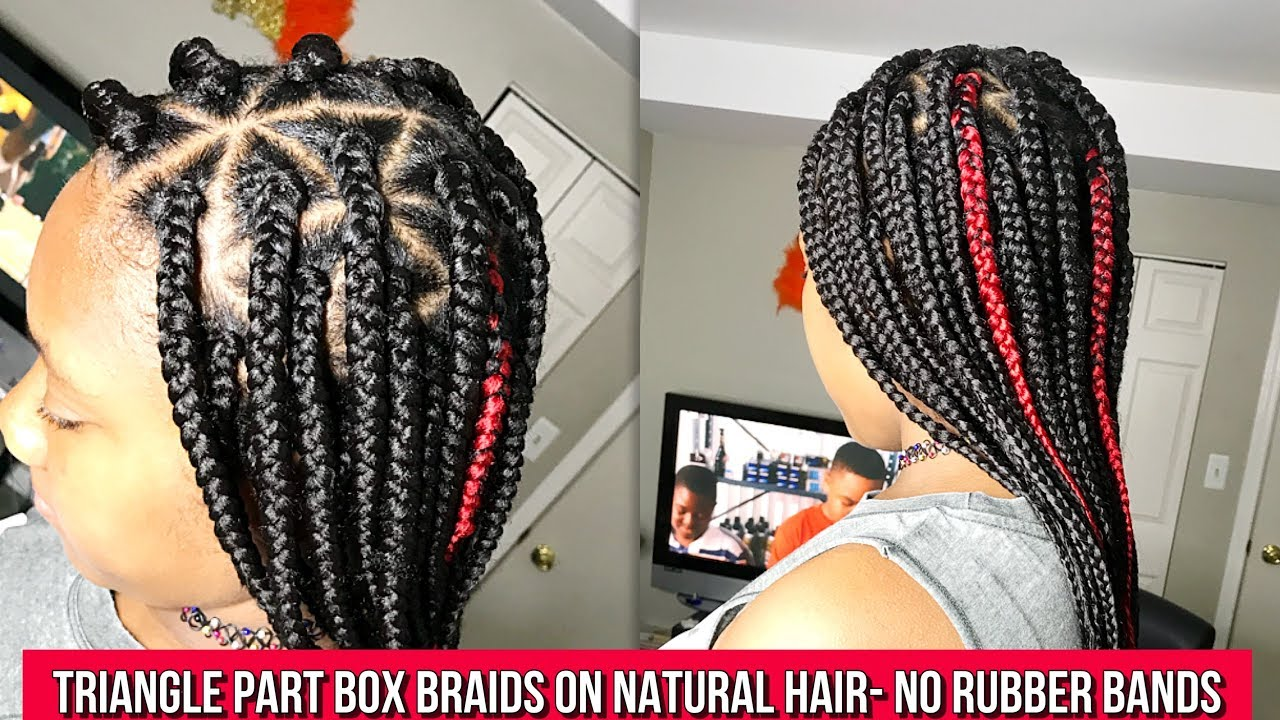 Medium Triangle Box Braids On 4c Natural Hair No Rubber