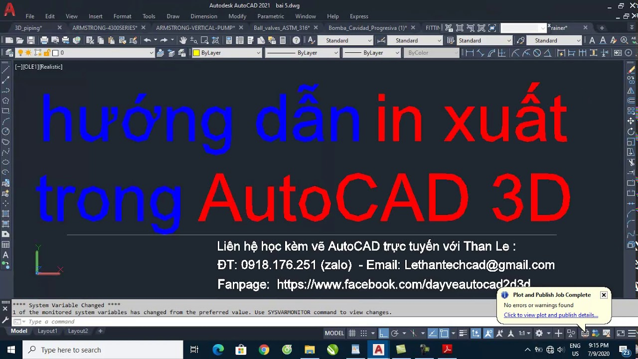 Hướng dẫn in xuất trong Autocad 3D | 3D Printing with AutoCAD